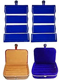 Afrose Combo 2 Pc Blue Earring Folder 1 Pc Ring Box And 1 Pc Blue Ear Ring Box Jewelry Vanity Box