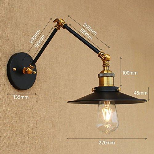 YJNB 15Cm Retrò Industriale Loft Lampada Da Parete Vintage Swing