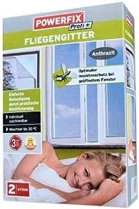 Powerfix Fliegengitter 130 x 150 2 er Pack 2 Fliegengitter Klebeband Farbe anthrazith