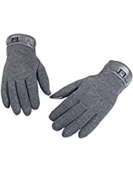 Tongshi Finger invierno para hombre completo Smartphone Touch Guantes cachemira pantalla Mittens