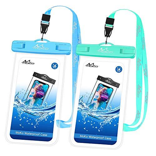 MoKo wasserdichte Handyhülle [2 Stück], Unterwasser-Handyhülle mit Trageband, kompatibel mit iPhone, Sky Blue & Mint Green -