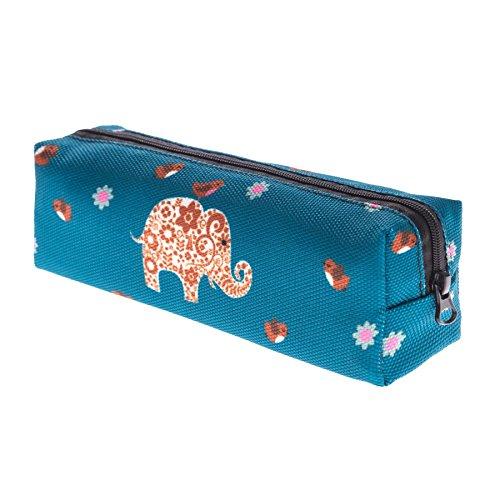 Kukubird Tribal Elefante Primavera/estate Floreale Print Zip Scuola Uni Matita Caso Tribal Elephant Blue