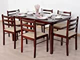 T2A Javint Six Seater Contemporary Solid Wood Dining Table Set - Rectangular With 6 Chairs (Mahogany Finish)