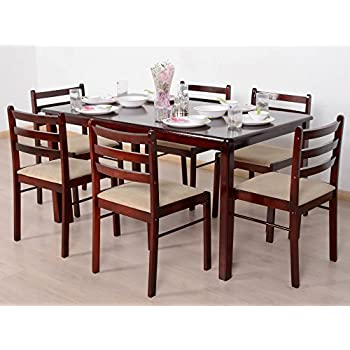 T2A Javint Six Seater Contemporary Solid Wood Dining Table Set    Rectangular With 6 Chairs ( Part 48