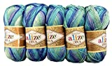 5 x 100 Gramm Alize Batik Wolle blau hellblau mint mit Farbverlauf, Nr. 1767, 500 Gramm merzerisierte Strickwolle