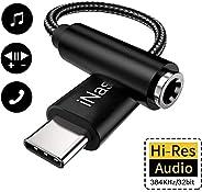 USB C to 3.5mm Headphone Adapter, iNassen HiFi Type C to Aux Audio Jack, 32Bit/384Khz Hi-Res Portable USB C DA
