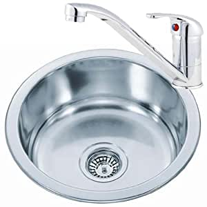 Small Round Bowl Stainless Steel Inset Kitchen Sink & A Mixer Tap Pack ...