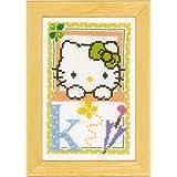 Vervaco - Kit para cuadro de punto de cruz, diseño de Hello Kitty con la letra K, multicolor