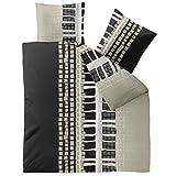 CelinaTex Winter Bettwäsche 200x200 Microfaser Fleece Bettbezug mit 80x80 Kissenbezug Style Bettgarnitur Daniela kariert gestreift beige grau schwarz 0003259