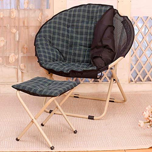 Zcxbhd sling chair luna piegare lettino pigro sala schienale divano per domestico all'aperto campeggio (colore : dark green+stool)