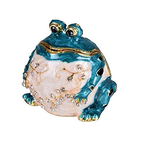 Micg faite à la main Bleu Fat Grenouille Boîte à bijoux Mariage Bague support Animal figurine Collectible Table de cadeau de Noël pour fille