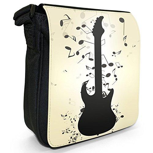 Musik ohne Ende mit Notenchaos Kleine Schultertasche aus schwarzem Canvas Gitarre umgeben von Musik