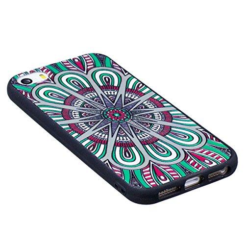 "MOONCASE iPhone 5/iPhone 5s/iPhone SE Coque, [Relief Pattern] Flexible TPU Protection Housse Ultra Slim Armure Anti-choc Defender Etui Case pour iPhone 5/5s/iPhone SE 4.0"" Big Owl Mandala"