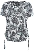 Roman Originals - Women's Ruched Tropical Print T-Shirt - Casual Holiday Style - Coral Sizes 10 - 20