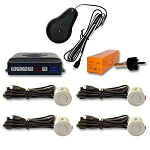 AUTOOUTLET-Radar de recul 4 détecteurs ultrason et avertissement acoustique, couleur blanc perle