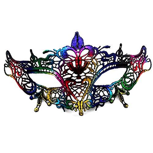 CAOLATOR Halloween Masquerade Maske Damen Spitze Augenmaske Bunt Lace Gesichtsmaske Maskenball Masken für Tanz Kostüm Karneval Party(4)