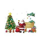 WINOMO Natale adesivi da parete con lettere Merry Christmas Vetrofanie babbo natale e albero rimovibile per la decorazione di vetrina/casa/parete/muro
