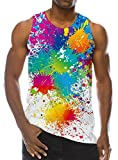 Loveternal Mens Buntes Farben Weste T-Shirt Gedrucktes Trägershirt Workout Muskel Sleeveless T-Shirts S