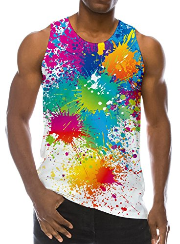 Loveternal Mens Buntes Farben Weste T-Shirt Gedrucktes Trägershirt Workout Muskel Sleeveless T-Shirts XXL