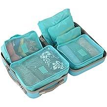 Dexinx Organizadores para Maletas,Set de 6 Portátil Viaje Impermeable Organizador de Equipaje para Ropa(3 Cubos Viaje + 3 Bolsas) Azul