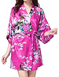 Yying Women Short Kimono Robes Bride Bridesmaid Peacock and Blossoms Stain Silk Nightwear
