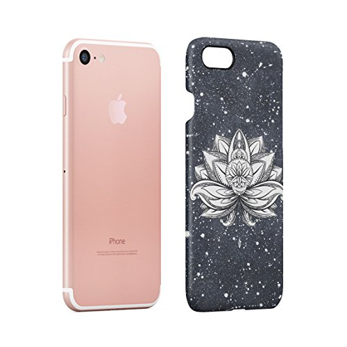 Henna Golden Ornamented Mandala Custodia Posteriore Sottile In Plastica Rigida Cover Per iPhone 7 & iPhone 8 Slim Fit Hard Case Cover White Lotus Tattoo