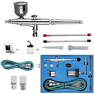 Toechmo Airbrush Kit Dual Action Air Brush Kit Spray Gun Air Hose with 0.2mm/0.3mm/0.5mm Needle for Tattoo, Cake Decorating, Nail Beauty, Painting-004
