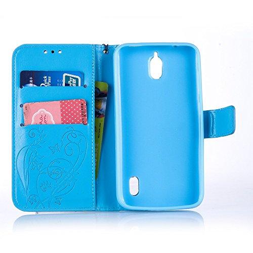Prägen Blumen-Case, Magnetverschluss Synthetische PU-Leder-Kasten-Abdeckung mit hängenden Seil und Wallet-Funktion für HUAWEI Y625 ( Color : Purple , Size : HUAWEI Y625 ) Blue