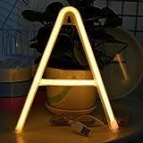 Neon Buchstaben Zeichen Nacht lichter LED Alphabet Neon Art Lichter Lampe Wand Dekor Batteriebetrieben und USB Powered für Hochzeit Geburtstag Hochzeit Bar Schlafzimmer Indoor Decor (A)