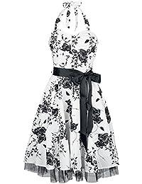 H&R London Robe Long Floral Robe blanc/noir