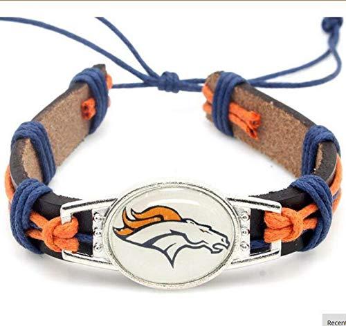 Guojiahao Sport Schmuck Charm verstellbar Leder Manschette Armband für Frauen, Denver Broncos - Bronco Leder