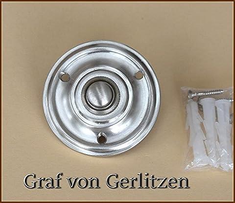 Graf von Gerlitzen Antik Nickel Tür Klingel 1 Türklingel Klingelschild Klingelplatte Rund K-N6-NewN