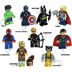 Kids Corner Productions® - - Super Heroes figurine 9 set Mini figure Marvel aKids Corner Productions® DC Comics - Borsa da partito con Batman, Spiderman, Ironman, Thor, DeadPool, Wolverine, Captian America, Hawkeye e The Hulk - Compatibile con Lego