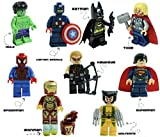 Kids Corner Productions - Super Heroes Lego Figuras 9 Set Mini Figuras Marvel, DC Comics- Bolso de fiesta con Batman, Spiderman, IronMan, Thor, DeadPool, Wolverine, Captian America, Hawkeye y The Hulk
