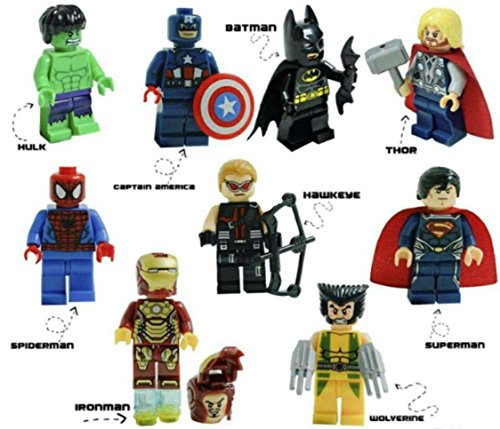 Kids Corner Productions® - Super Heroes Figures 9 Set Mini Figures Marvel Kids Corner Productions®nd DC Comics - Party Bag with Batman, Spiderman, IronMan, Thor, DeadPool, Wolverine