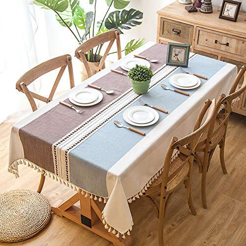 Wondder Tischdecken Baumwolle Leinen Tischdecke Quaste Spitze für Tischdecke Tischdecke Party Bankett Esstisch Abdeckung (140x220cm(55x86.6inch), Helles Lila) (Leinen-schwarz Tischdecke)