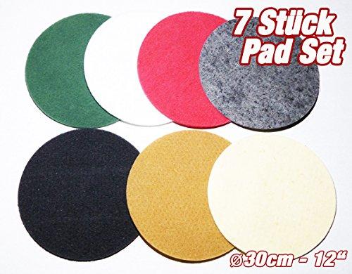 """HPS® Super Allround Pad Set 7Stück , Ø30cm - 12"""", Passend zu Floorboy XL300. Breites Einsatzspektrum. Von sanfter bis intensive Reinigung - Nachölen, Ölen einmassieren aufpolieren- Polishen usw. Bodenbeläge auf Glanz mit Schafwollpad bringen. ."""