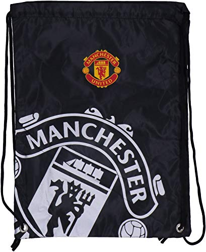 Manchester United FC Drawstring Gym Bag School Swim Sport Black Crest Fan Official Manchester United Fashion