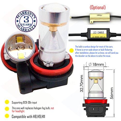 Preisvergleich Produktbild Wiseshine H9 LED-Nebelscheinwerfer lampen DC9-30v 3 Jahre Qualitätssicherung (2 Stück) H9 6 led HP Grün