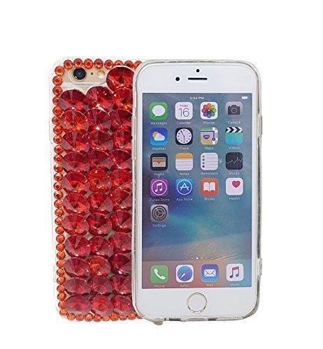 iPhone 7Plus 14cm 3D Handgefertigt Luxus Glitzer Transparent Strass Fall Full Kristalle Diamond Cover. Bling Diamant Fall, Rot Full Diamond Bling Snap