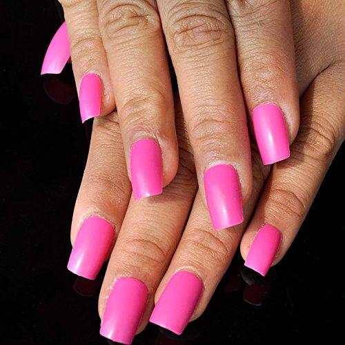 guarigione naturale lunga unghie finte rose rosso lucido Candy acrilico nail accessori kit 24PCS 006m