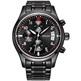 SONGDU Mens Quartz Wrist Watch Black Stainless Steel Bracelet with Chronograph Analogue Calendar Date Digital Display Luminous Numeral White Hand