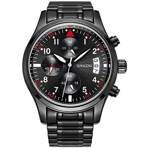 SONGDU-Herren-Quarz-Armbanduhr-Schwarz-Edelstahl-Armband-mit-Chronographen-Analog-Kalender-Datum-Luminous-Ziffer-White-Zeiger