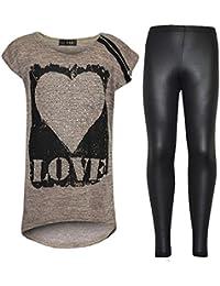 A2Z 4 Kids® Kinder Mädchen LOVE Bedruckt Trendiges Oberteil & Fashion Wetlook Leggings Set 7 8 9 10 jahre alt 11 12 13 Jahre