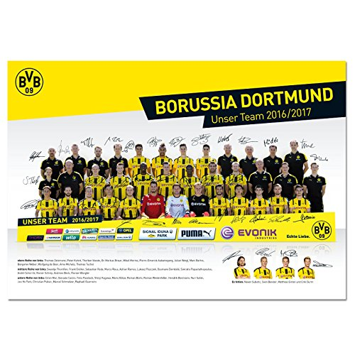 BVB BORUSSIA DORTMUND MANNSCHAFTSPOSTER 2016/17 M. GEDR. U