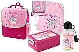 Mein Zwergenland Set 6 Kindergartenrucksack mit Brotdose, Turnbeutel aus Baumwolle, Trinkflasche und Brustbeutel Happy Knirps Next mit Name Einhorn, 5-teilig, Pink