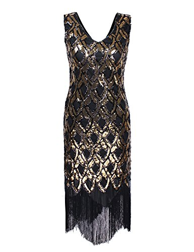 PrettyGuide Damen 1920er Klassiker tiefem V Ausschnitt Mermaid Pailletten Flapper Kost¨¹m Kleid Gold S (Fringe 1920er Jahren Kleid)