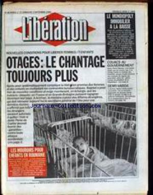 LIBERATION [No 2885] du 01/09/1990 - LE MONDIOPOLY IMMOBILIER A LA BAISSE - NOUVELLES CONDITOINS POUR LIBERER FEMMES ET ENFANTS - OTAGES - COUACS AU GOUVERNEMENT - VARDA - EVOCATION - SCENARIO DE JACQUES DEMY - LES MOUROIRS POUR ENFANTS EN ROUMANIE PAR JAMES NACHTWEY.