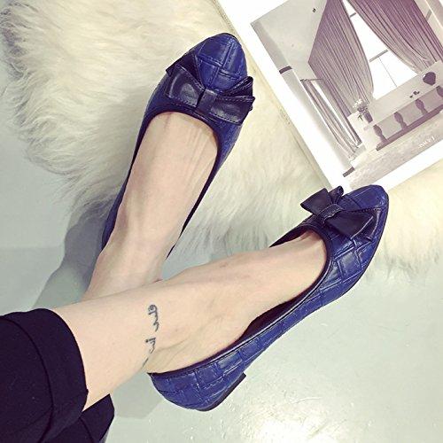WYMBS Printemps 2017 Nouveau noeud papillon sauvage chaussures plates des femmes a souligné la bouche peu profonde chaussures chaussures unique scoop femmes talons plats Black
