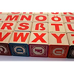 Holzbausteine Deutsch Alphabet, ABC Blöcke 46 mm Embossed wooden blocks